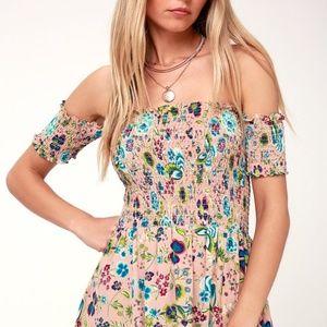 NWT Lulu's Off-the Shoulder floral Print Dress